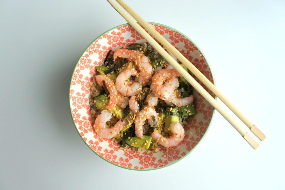 sushi bowl met garnalen