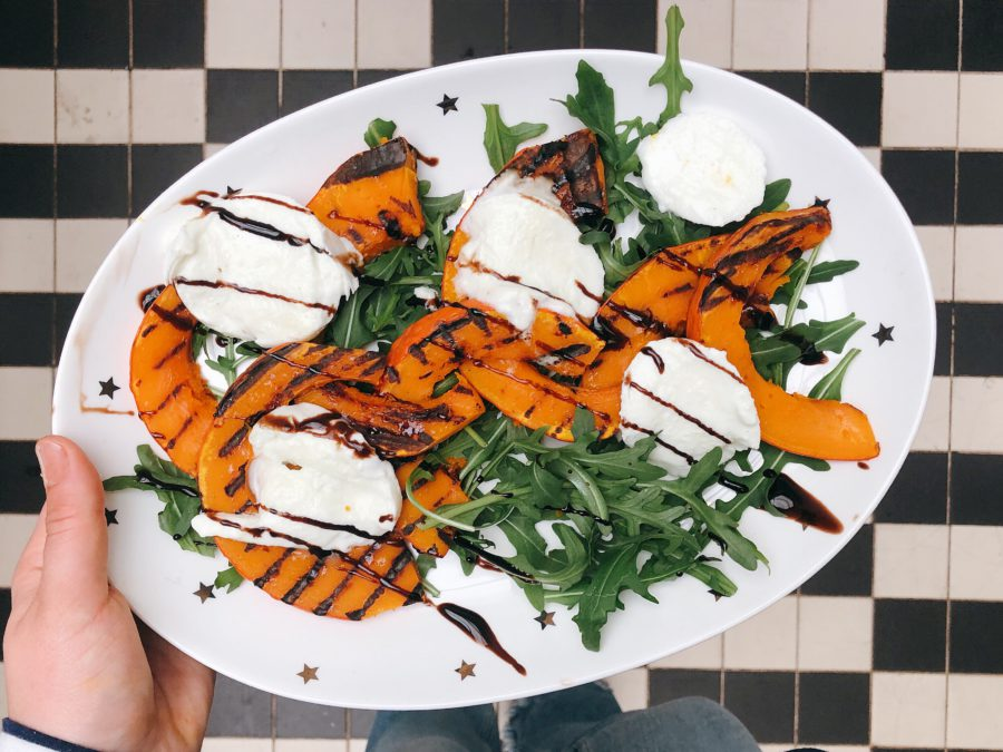 pompoen, burrata, healthy