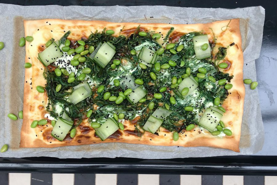 japanse pizza, wakame, edamame