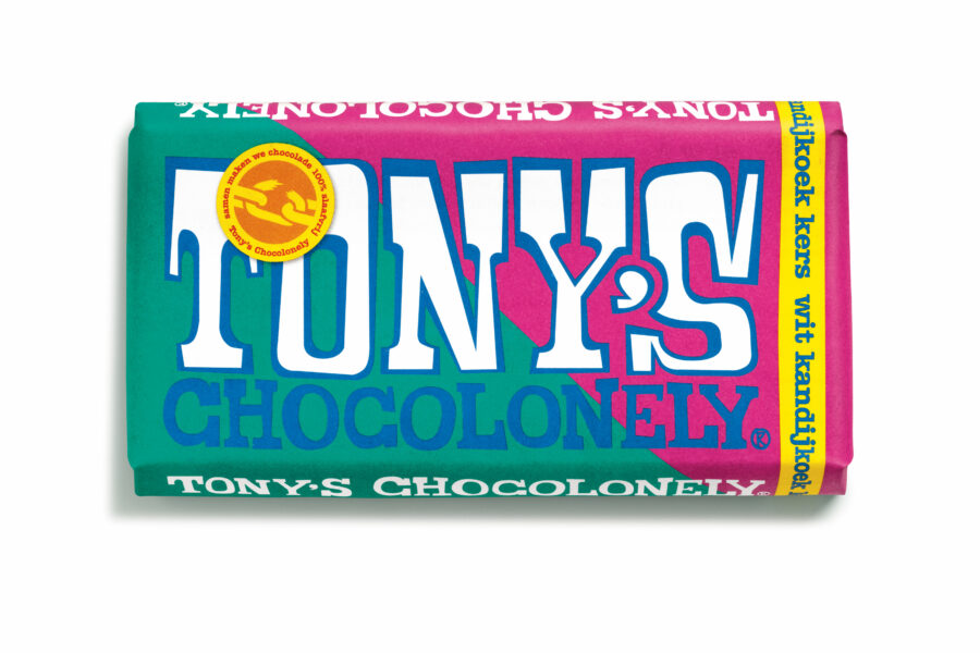 tony chocolonely, wit kandij kers, estafette reep, nieuw, what's new