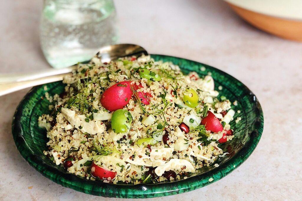 quinoa salade met kip, venkel, gezond, zomer salade