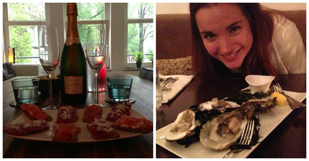 Afgelopen maand was ik al weer 5 jaar samen met vriendlief :) Toen ik thuis kwam uit werk stond er heerlijke fles champagne klaar met toastjes met gerookte zalm. Mmmm! Lief! En daarna uit eten bij Oker in Den Haag waar we deze lekkere oesters aten. Sowieso was dit echt een super restaurant. We hebben zo goed gegeten. Echt een aanrader.