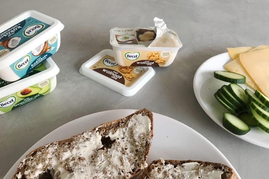 becel margarine, boterham kaas komkommer, margarine met walnootolie
