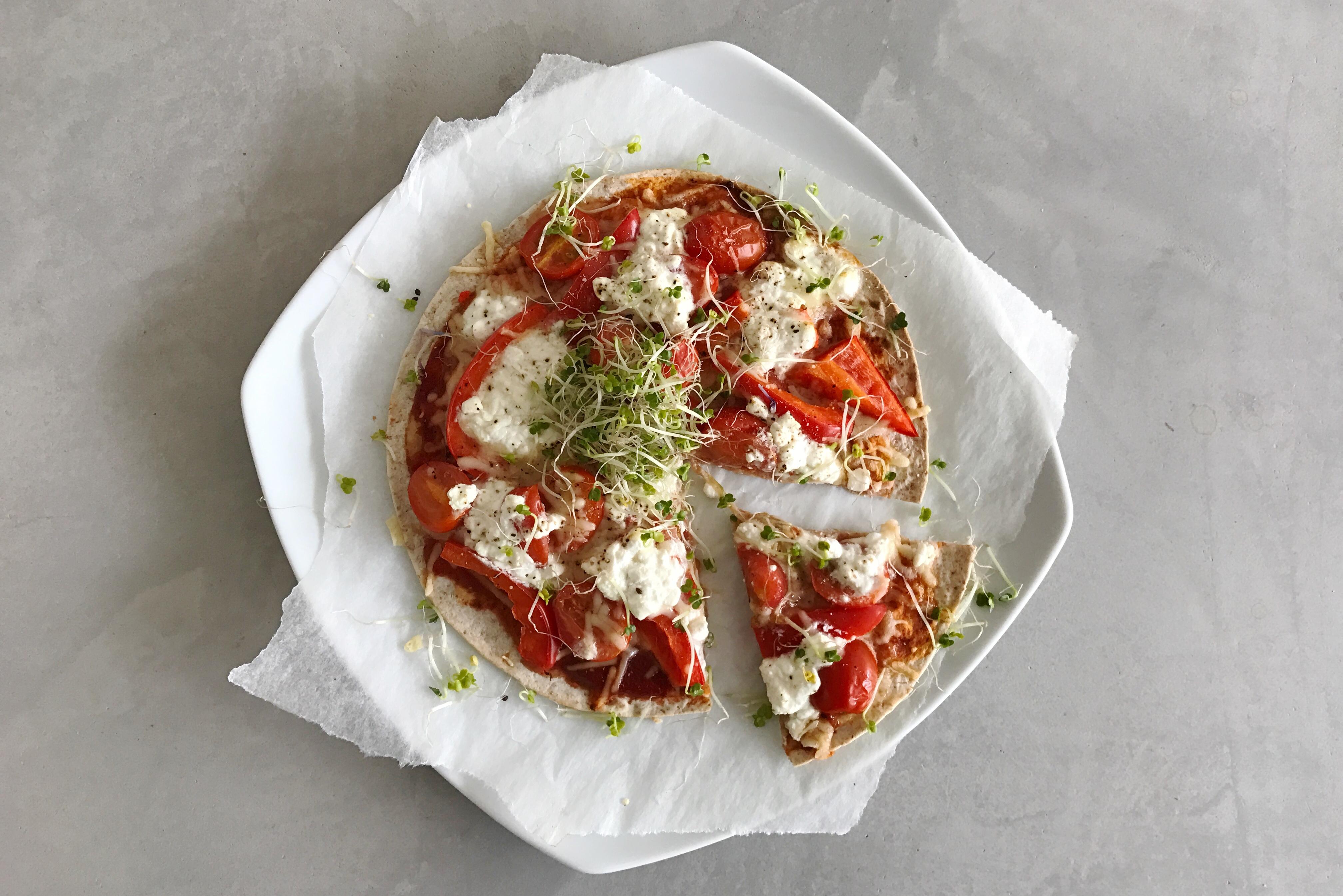 snelle gezonde pizza met kiemen, gezondere levensstijl