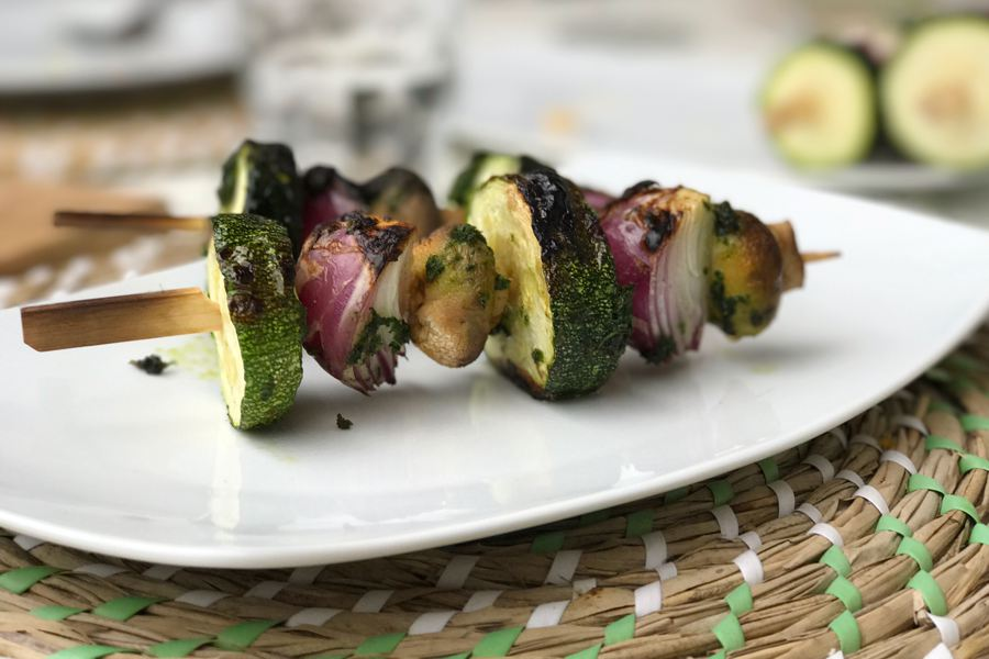 plantaardige bbq, groentespies, groente