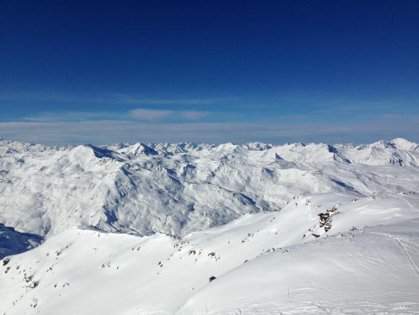 Snowboarden, Val Thorens, uitzicht, wintersport