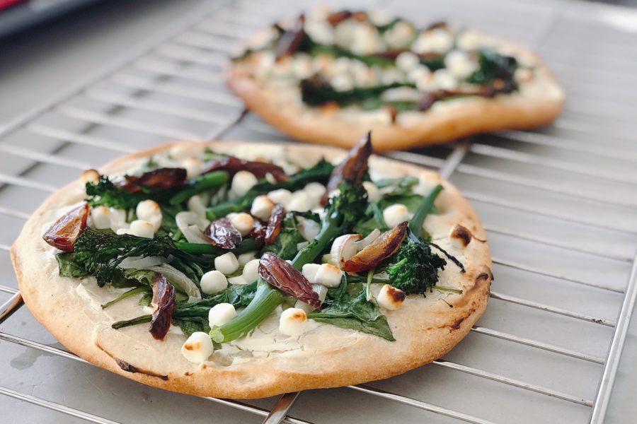 gezonde pizza met spinazie