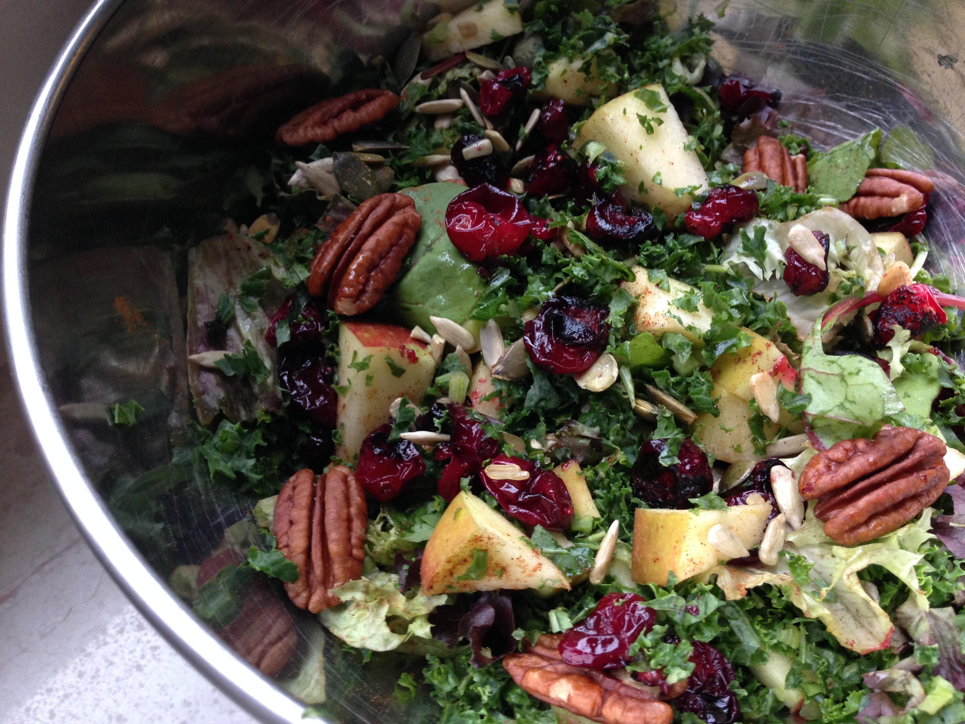 Boerenkool salade met appel en cranberries - kerst recept
