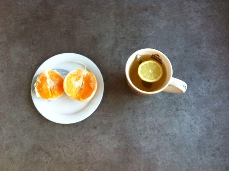 Eetdaboek; sinaasappel en thee met citroen - gluten- en lactosevrij