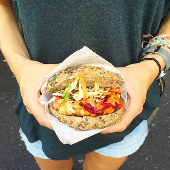 londen healthy food tips, borough market, veggie burger