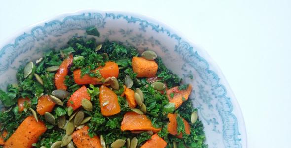 pompoen salade met boerenkool