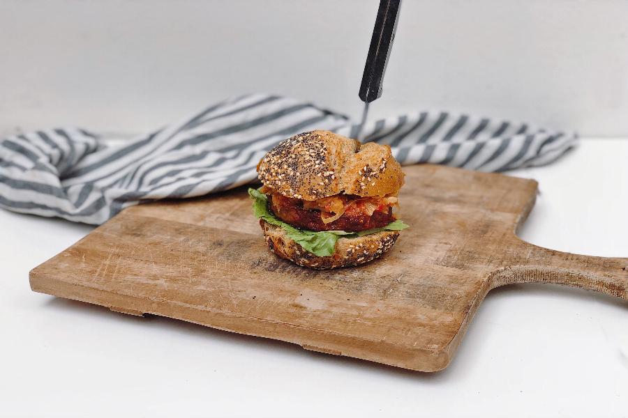 kimchi burger, burger, vegan