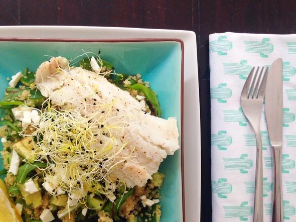 quinoa salade met kabeljauw