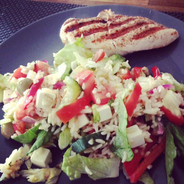Griekse salade met rijst - photo diary