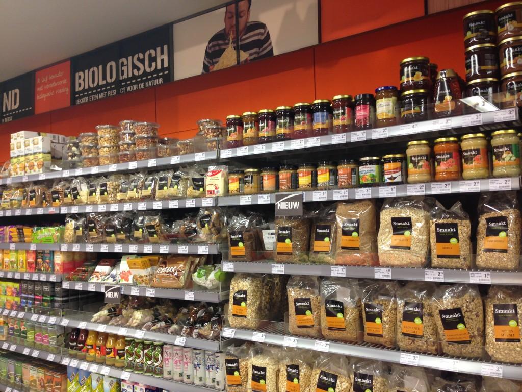 Bio hoek in supermarkt