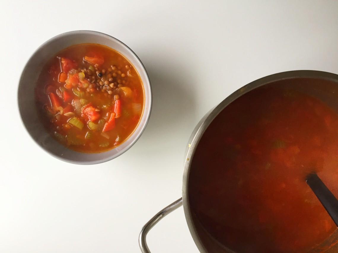 linzensoep met paprika
