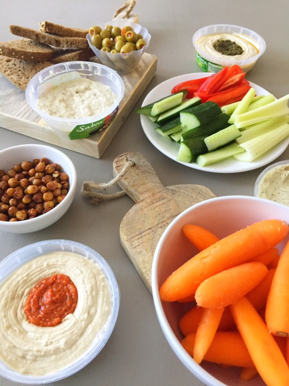gezonde picknick en borrel sabra houmous