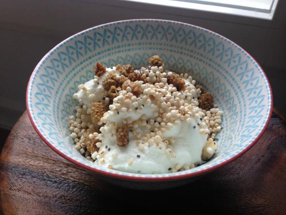 suikervrij ontbijt, gepofte quinoa