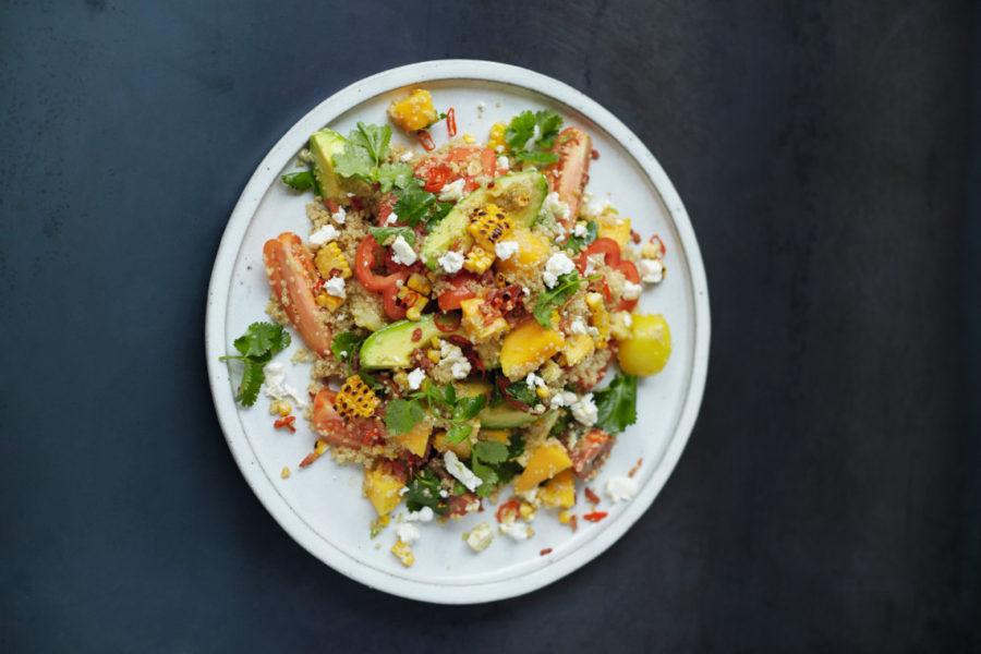 gegrilde mais quinoa salade