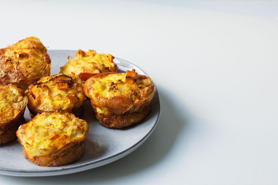 zuurkool muffins met zoete aardappel