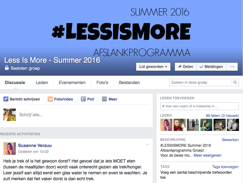 less is more facebookgroep