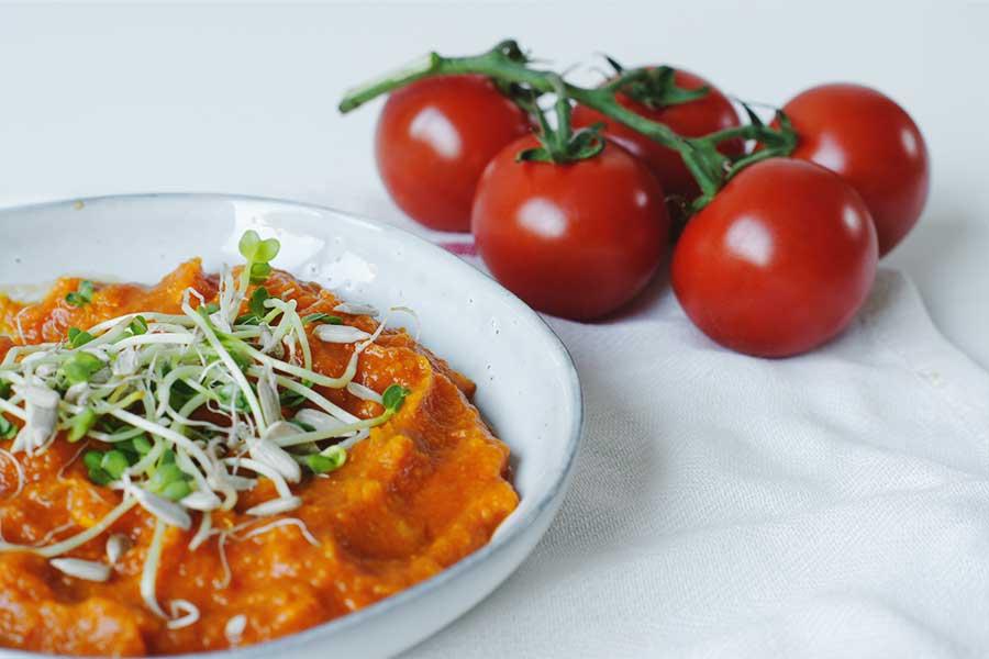 pompoen tomaten soep met kiemen