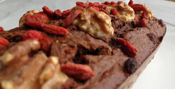 chocolade bananenbrood met goji bessen