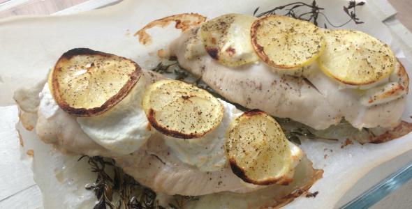 Citroen uit de oven met geitenkaas en citroen