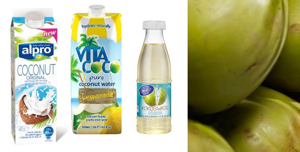 kokos drinks: Hero kokoswater, Vita Coco Lemonade, Alpro Coconut