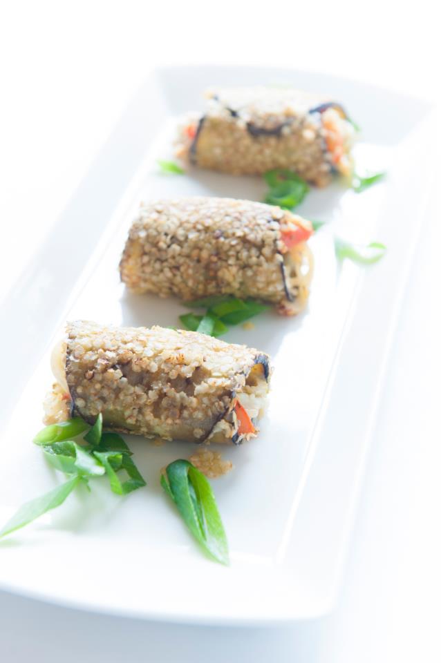 Recept quinoa aubergine rolletjes van NatureCrops