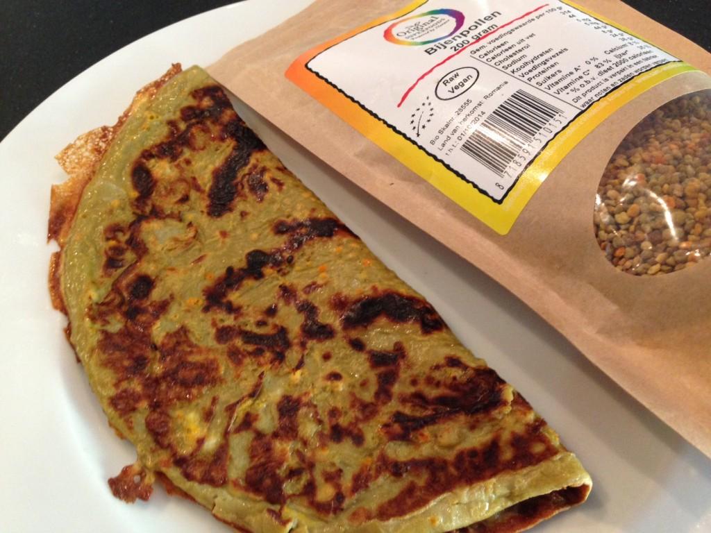 omelet met met het superfood bijenpollen en honing
