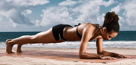 Plank core workout beach