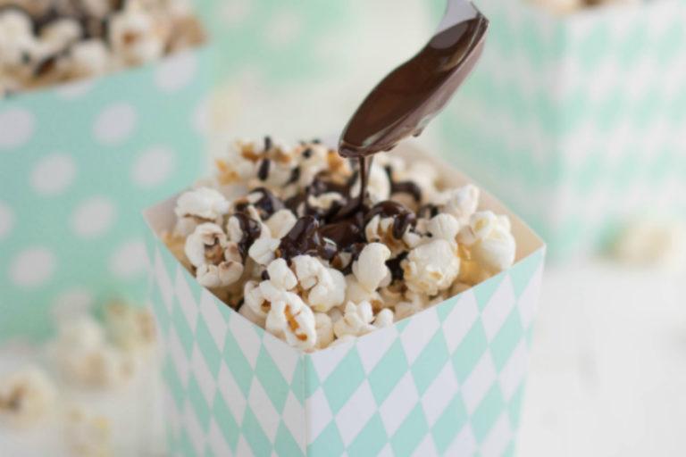 Popcorn met chocolade zeezout
