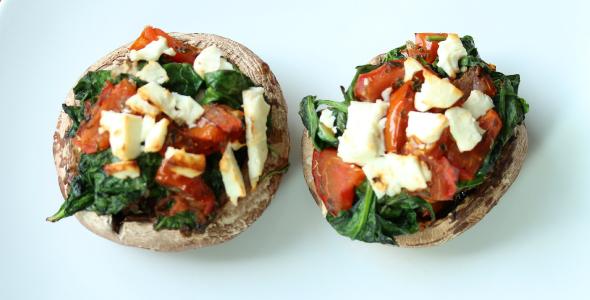 portobello met spinazie