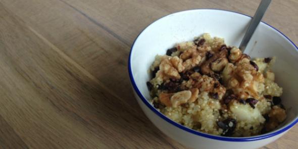 quinoa recept ontbijt met peer