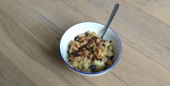 quinoa recept, ontbijt met peer