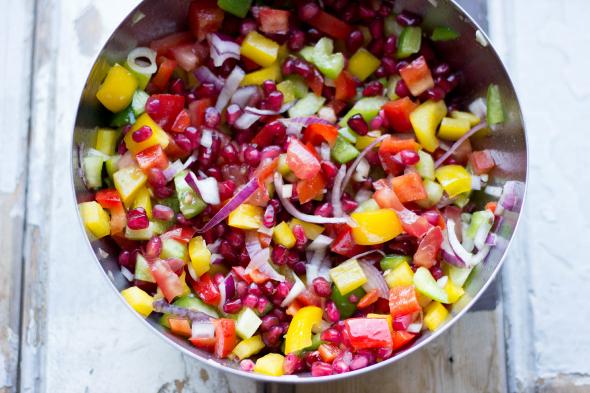 salade met granaatappel, snelle en gezonde salade dressings
