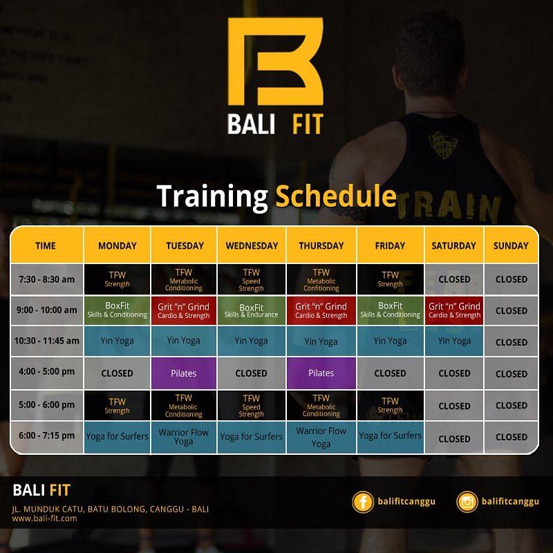 schedule bali fit 8-2-2016, i love health retreat