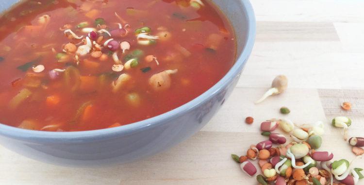 snelle tomatensoep met kiemen